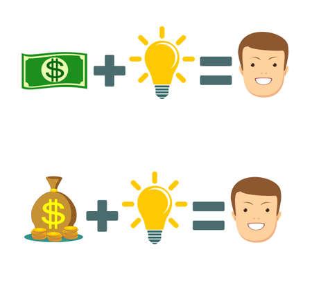 El dinero puede cambiar tu vida: concepto ilustrado en la pizarra. Ilustración de vector plano stock. Ilustración de vector