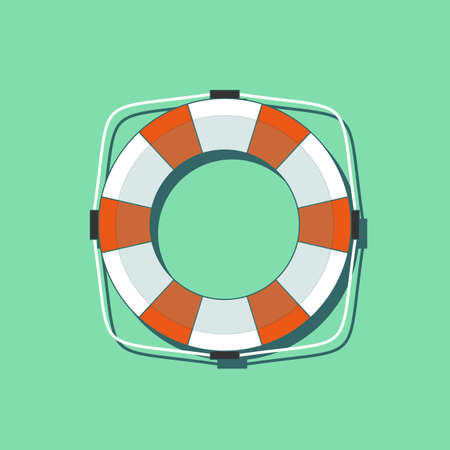Lifebuoy icon in flat style isolated on a green background. Simple vector life ring or life preserver symbol.
