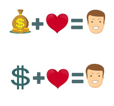 Love and money . Selling love. Dollar and heart. Stock flat vector illustration.