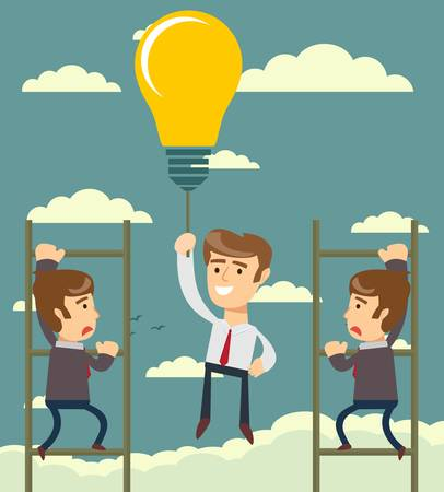 Happy businessman holding idea bulbs as balloon flying pass another businessman climbing a ladder. Business competition concept. Stock flat vector illustration.