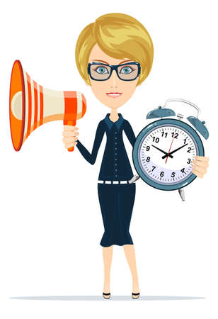Young business woman in suit, glasses holding megaphone and alarm clock isolated on background. Lady boss.