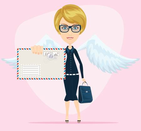 Gorgeous young woman as love angel with love letter Illustration