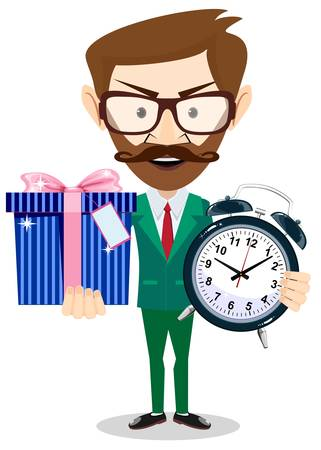 Happy man with alarm clock and and cute gift on white background. Vector illustration in a flat style Illustration
