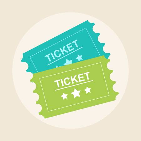 Tickets icon. Retro cinema tickets. Movie ticket in flat style. Stock flat vector illustration. Иллюстрация