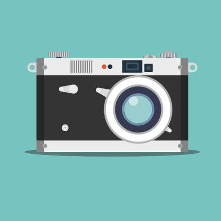Old film camera. Vintage photo. Stock flat vector illustration.