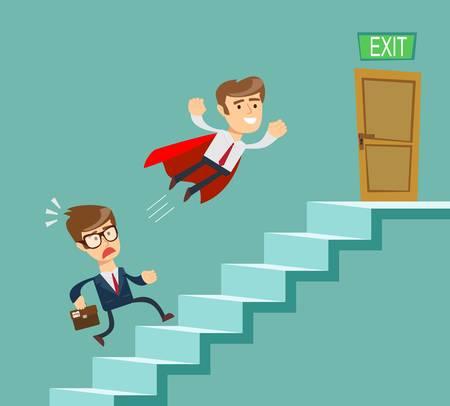 Super homme d'affaires en cape rouge volant passer un autre homme d'affaires à monter les escaliers. Concept de concurrence commerciale. Illustration vectorielle plane stock.