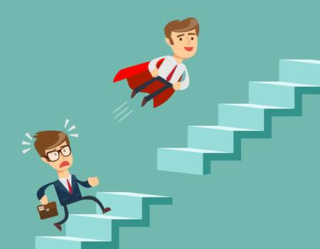 Super businessman in red cape flying up climbing stairs. Man climbs the steps of collapsing ladder.