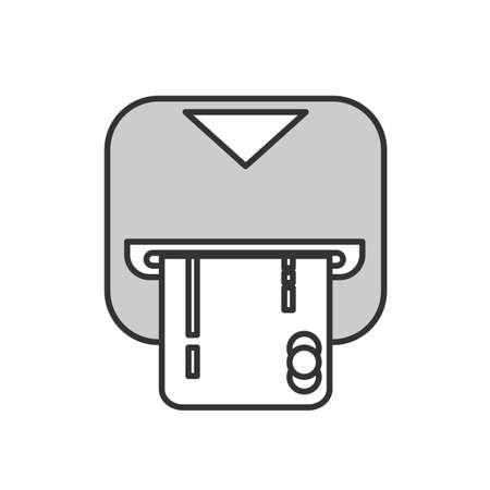 Insérer l'icône de la carte de crédit. Signe de magasinage. Symbole de guichet automatique bancaire.