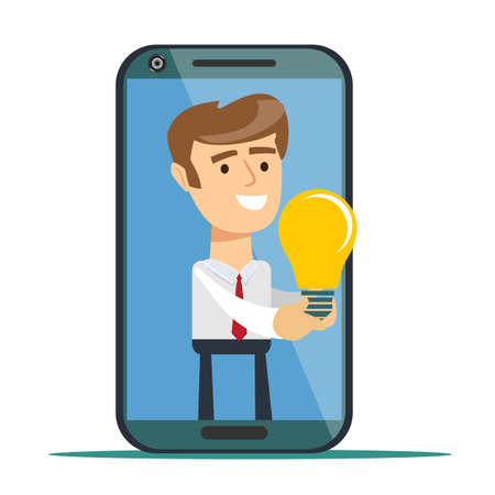 Young successful businessman from smartphone screen give another businessman new idea bulb. Stock flat vector illustration.