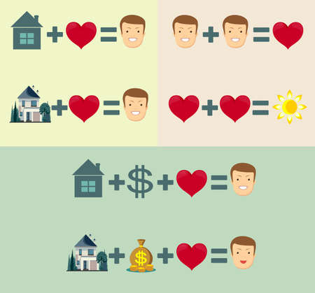 love, home and money concept - equal happiness. Stock flat vector illustration.