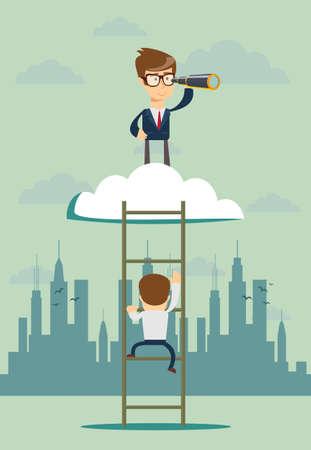 Vision concept in business . Businessman and telescope, monocular. Symbol leadership, strategy, mission, objectives vector illustration Ilustração
