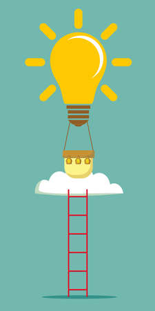 idea balloon with a ladder. Stock flat vector illustration.