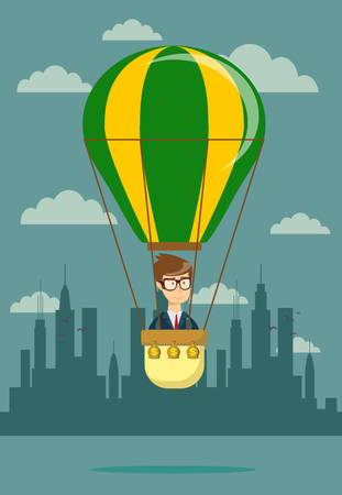 Businessman in hot air balloon. Stock flat vector illustration.  イラスト・ベクター素材