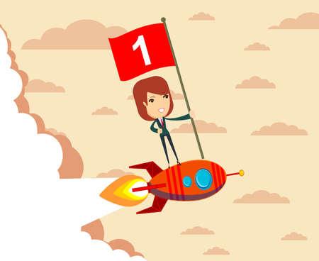 Happy businessman holding number one flag standing on rocket ship flying through starry sky. Start up business concept. Standard-Bild - 127706281