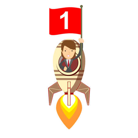 Happy woman holding number one flag in rocket ship flying through sky. Successful Start up business concept. Vector illustration