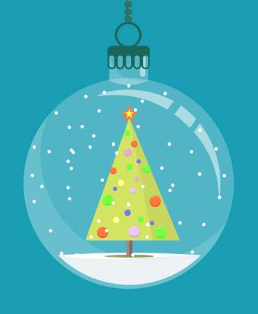Transparent Christmas ball with a Christmas tree inside. Stock flat vector illustration.