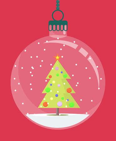 Christmas globe with a Christmas tree inside. Vector illustration.