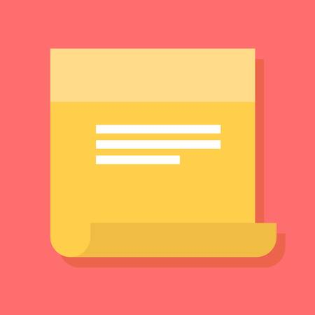 Sticky note vector icon in a flat style. Design yellow sticky note icon isolated on background. Concept paper sticky notes icon. Simple flat icon sticky notes with reminders.