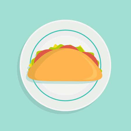 Sandwich on plate. Stock flat vector illustration.