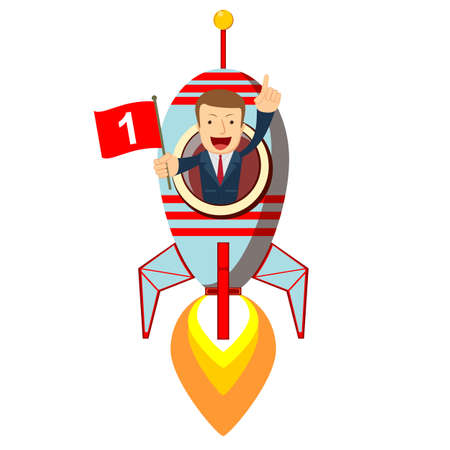 Happy businessman on a rocket ship launching to starry sky. Start up business concept. Stock flat vector illustration. Banque d'images - 124839176