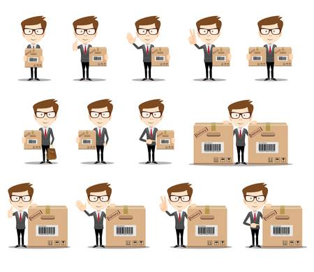 set of funny cartoon office worker in various poses for use in presentations, etc.Businessman in different poses . Full length, front view against white background. Stock flat vector illustration. Banque d'images - 124691323