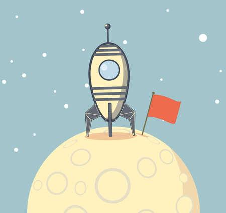 Rocket spaceship landed on moon. Success concept. vector illustration Banque d'images - 124632313