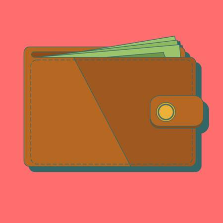 Wallet with money vector illustration. Wallet isolated on colored background. vector Banque d'images - 124588502
