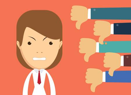 Angry businesswoman and many hands with thumbs down. Dislikes and negative feedback concept. Creative vector illustration