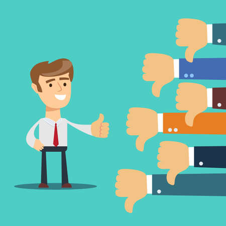 one hand of businessman leader boss or customer thumb up to their project,but many hands of team disagree the opinion or feedback - team work concept