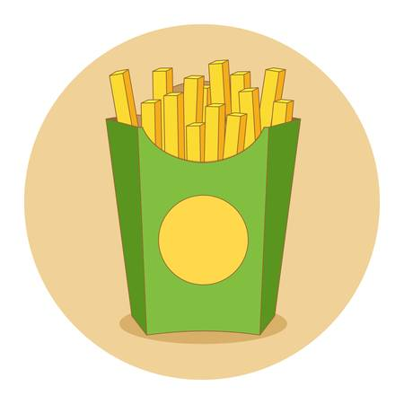 Fries in box vector illustration in flat style. French fries inside red packaging isolated on colored background. French fries potato image. Illustration