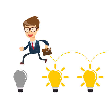 Businessman jump on light bulbs, Idea concept. vector Banque d'images - 124339470