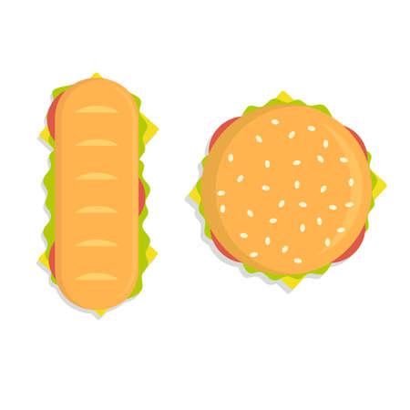 Food illustration - burger. Modern flat design concept. vector illustration Banque d'images - 124339471