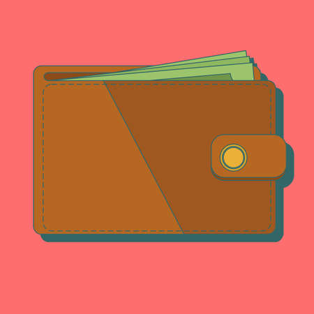 Wallet with money vector illustration. Wallet isolated on colored background. vector Banque d'images - 124339474