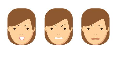 Set of woman emotions. Facial expression. Girl Avatar. Vector