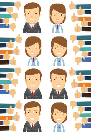 business man and woman, many hands with thumbs. Dislikes and likes concept. Creative vector illustration
