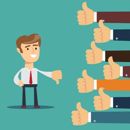 mano dell'uomo d'affari, molte mani con il pollice in alto ma riceve un feedback antipatico dal capo o dal cliente Vettoriali