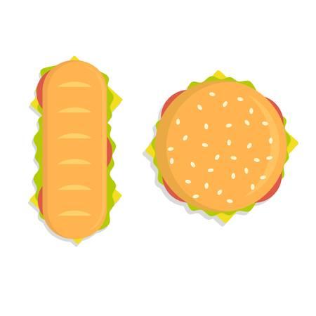 Food illustration - burger. Modern flat design concept. Stock Vector - 120568972