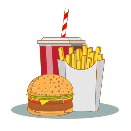 French fries, hamburger and soda takeaway . fast food menu. Stock flat vector illustration.