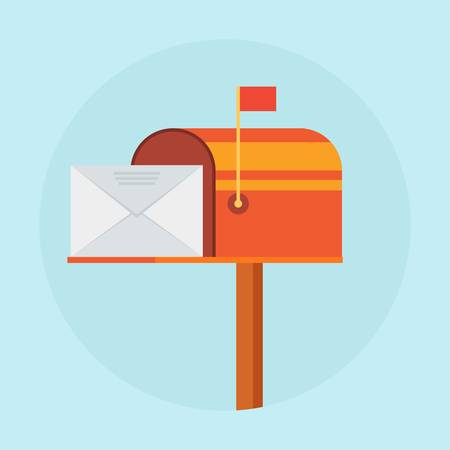 Mail box vector illustration in the flat style. Open red mail box with an envelope on the cover isolated from background.