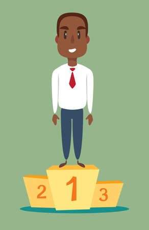 illustration of a happy black african american businessman on podium. Stock flat vector illustration. Banque d'images - 124643707