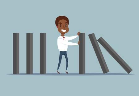 Hombre de negocios afroamericano negro deteniendo la caída de dominó.