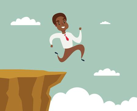 black african american businessman running and jump over cliff gap to success, overcome the difficulty, Business concept, Cartoon vector illustration