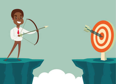 successful black african american businessman aiming target with bow and arrow