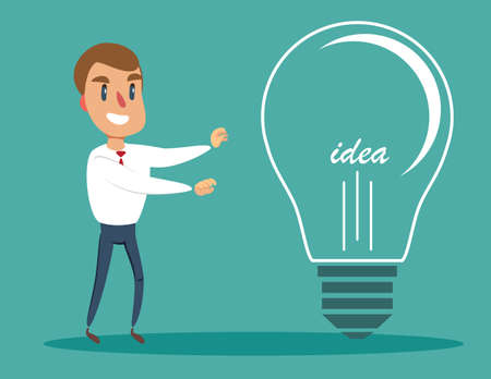 Businessman with a large light bulb as a symbol of new ideas. An employee found the idea and touched it . Business concept