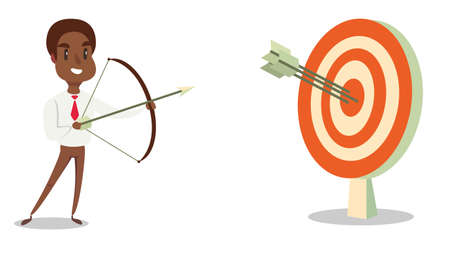 Successful Black african american businessman character shoots or aiming at the target.