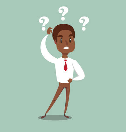 Vector illustration of a clueless cartoon black african american businessman with three question marks above his head. Standard-Bild - 127010852