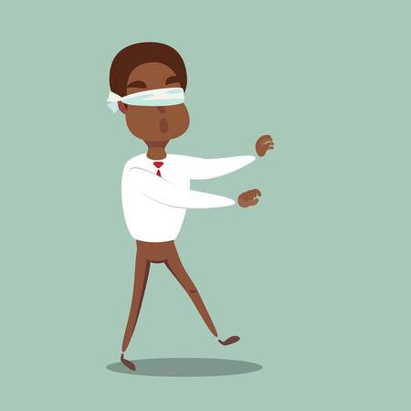 blindfolded cartoon black african american businessman