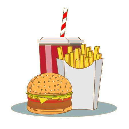 French fries, hamburger and soda takeaway vector illustration.fast food menu Ilustração