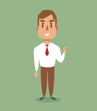 Full length of business man pointing his finger up. Business man with finger pointing up. Vector flat design illustration isolated on background.