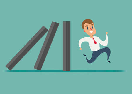Business concept of a businessman run away from domino effect Ilustração